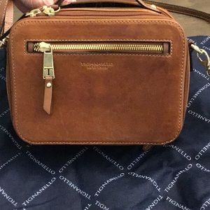 Tignanello Camera x-body leather bag, Walnut